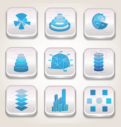 blue charts icon set vector image vector image