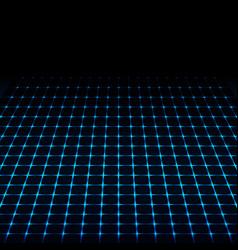 Blue neon tech squares design vector image