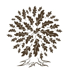 Brown oak tree silhouette vector