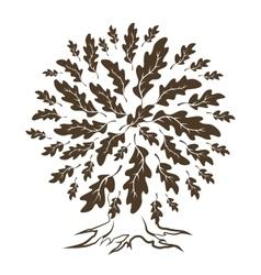 Brown oak tree silhouette vector