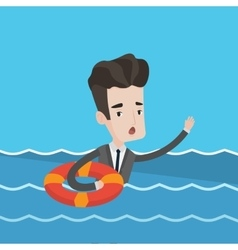 Businessman sinking and asking for help vector image vector image