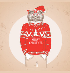 Christmas hipster fashion animal frog vector