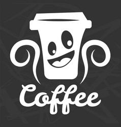 Coffee cup smile icon template for cafe vector