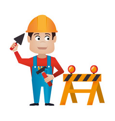 Color silhouette with worker with helmet and vector