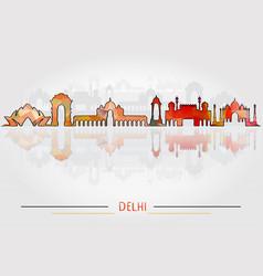 delhi city silhouette with city silhouette design vector image