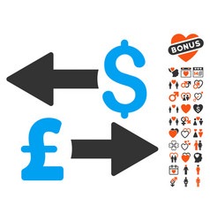 dollar pound transactions icon with lovely bonus vector image vector image