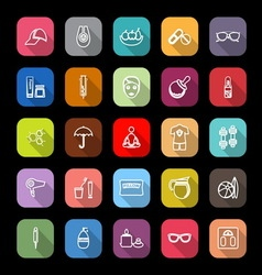 Facial and body treatment line icons with long vector