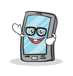 Geek face smartphone cartoon character vector