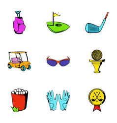 Golf car icons set cartoon style vector
