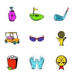 Golf car icons set cartoon style vector