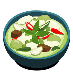 Green chicken curry popular thai food vector