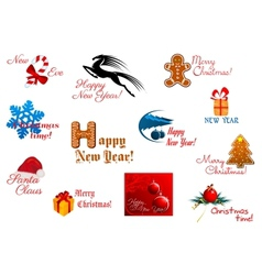 Holiday symbols and tags vector image