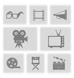 icons with cinema symbols vector image