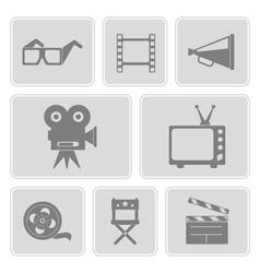 icons with cinema symbols vector image