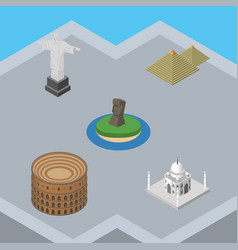 isometric travel set of egypt coliseum india vector image vector image
