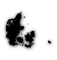 Map of denmark with shadow vector