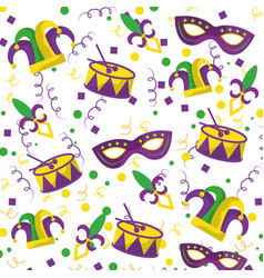 mardi gras fleur de lis mask jester hat and drum vector image