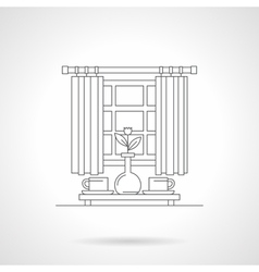 Morning tea time flat line icon vector