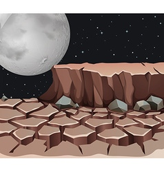 Nature scene with dryland on fullmoon night vector