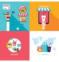 Online shopping Food order Mobile payment e vector image