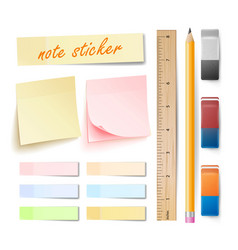 post note sticker isolated set memory vector image vector image