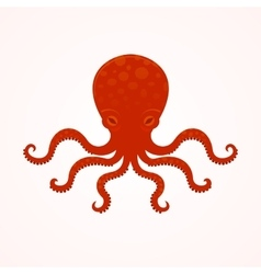 Red big octopus vector image