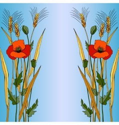 Red poppy in blue style vector