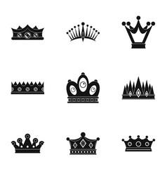 Regal crown icon set simple style vector