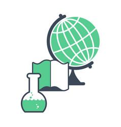 Science logo emblem for scientific laboratory vector