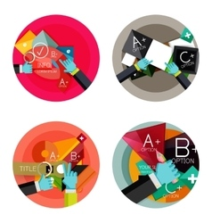 Set of flat design circle option infographics vector image