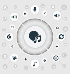 Set of simple music icons elements note partymaker vector