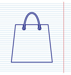 shopping bag navy line icon vector image