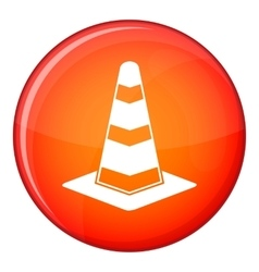 Traffic cone icon flat style vector