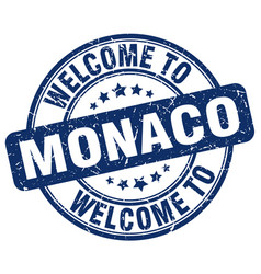 Welcome to monaco blue round vintage stamp vector