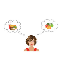 woman thinking about food choice vector image