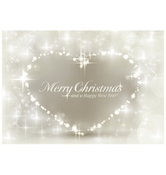 Silver sparkling Christmas heart vector image