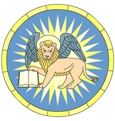 Symbol of Mark the evangelist winged lion emblem vector image