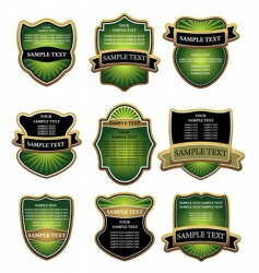 Set of green and gold labels vector
