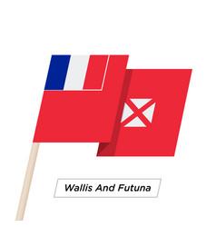 Wallis and futuna ribbon waving flag isolated on vector