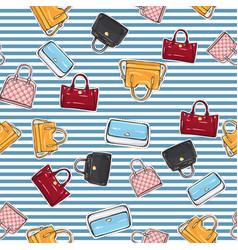 Set of different women handbags endless texture vector