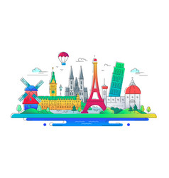 European countries - line travel vector