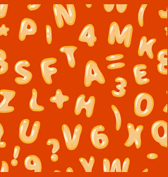 Alphabet soup latin on red seamless pattern vector