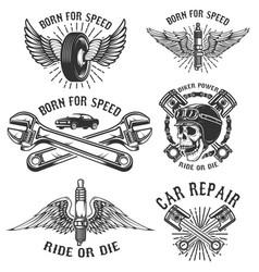 set of car repair and racing emblems spark plug vector image