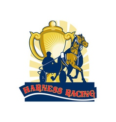 Harness horse race racing championship cup vector