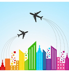 Colorful cityscape scene with aeroplane vector