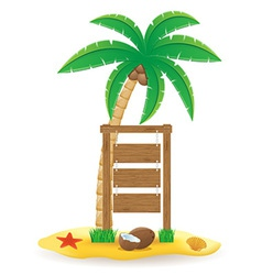 Palm tree and wooden pointer board vector
