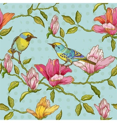 Vintage Seamless Background - Flowers and Birds vector image
