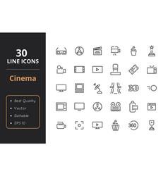 30 cinema line icons vector image vector image