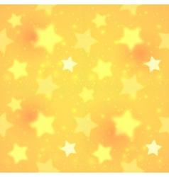Yellow blurred shining stars seamless pattern vector image