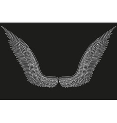 Sketch open angel wings vector